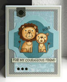 Card critters lion couple MFT Lions and Tigers Die-namics #mftstamps Spellbinders labels - JKE