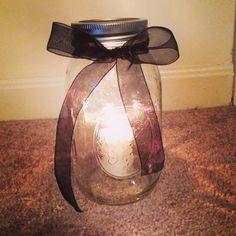Outdoor mason jar candles.