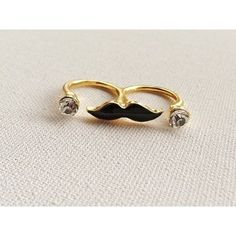 Black Mustache Two Finger Ring