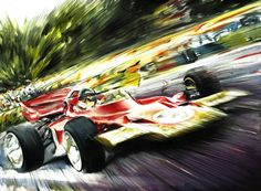 JOCHEN RINDT LOTUS 72 COSWORTH DFV GOLD LEAF, FORMULA 1 CAR 1970 - Original Oil Painting on Canvas by Italy's Artist Andrea Del Pesco, size cm. 40x30