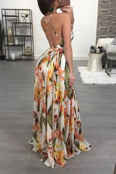 Sexy V-neck Backless Floral Print Maxi Dress – WhatsMode Boho Dress, Dress Skirt, Vacation Dresses, Summer Dresses, Yellow Maxi Dress, Backless Maxi Dresses, Floor Length Dresses, Print Chiffon, Ladies Dress Design