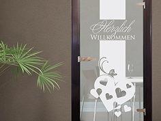 Glasdekor Glastür Aufkleber Milchglas für Flur Eingang Willkommen Herzen (Größe=131x50cm) Graz Design http://www.amazon.de/dp/B00JO9K8BO/ref=cm_sw_r_pi_dp_Islgub1M373XM