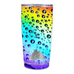 Skin-Decal-for-Ozark-Trail-20-oz-Tumbler-Cup-5-piece-kit-Rainbow-water-drops