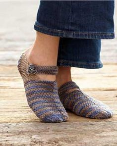 With this free slipper knitting pattern, create adorable mary-jane style slippers to wear around the house. A button closure completes these stylish knit slippers.