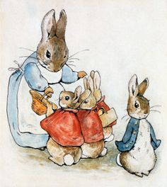 Rabbit With Flopsy, Mopsy, Cotton-Tail & Peter wall mural illustrates the charming animal characters of Beatrix Potter's beloved tales. Rabbit hands baskets to Flopsy, Mopsy and Cotton-tail. Peter Rabbit looks ready for mischief. Rabbit Drawing, Rabbit Art, Rabbit Illustration, Illustration Art, Beatrix Potter Illustrations, Beatrice Potter, Peter Rabbit And Friends, Bunny Art, Art Graphique