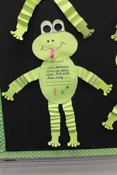 Mrs Jump's Class:  Frog Frenzy! {Aligned with Common Core} Part one ~ We started working on my new Frog Frenzy nonfiction unit.    We made these cutie patootie frogs and wrote an opinion piece on the tummy ...