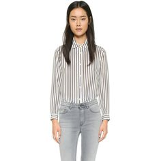 The Kooples Boyfriend Silk Shirt (445 BAM) ❤ liked on Polyvore featuring tops, white, long sleeve collared shirt, white long sleeve top, long sleeve shirts, stripe shirt and silk shirt