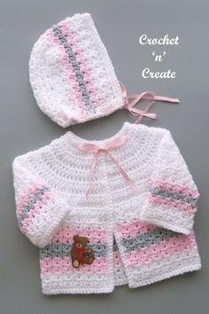 Crochet Baby Cardigan Free Pattern, Baby Knitting Patterns Free Newborn, Crochet Baby Jacket, Crochet Baby Bonnet, Baby Boy Knitting Patterns, Baby Sweater Patterns, Free Crochet, Crochet Baby Clothes Boy, Crochet Baby Sweaters