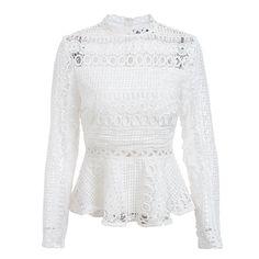 3ee749d6956624 Elegant lace hollow out peplum blouse shirt women Ruffles long sleeve white  blouse female Autumn winter tops office lady