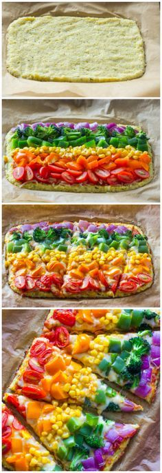 Cauliflower Crust Pizza If a rainbow were a pizza! The healthy pizza recipe you & your fam will love! Rainbow Cauliflower Crust PizzaIf a rainbow were a pizza! The healthy pizza recipe you & your fam will love! Healthy Pizza Recipes, Healthy Snacks, Vegetarian Recipes, Healthy Eating, Cooking Recipes, Diet Recipes, Cooking Kids, Eating Vegan, Jello Recipes