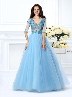 2015 Prom Dresses V Neck Ball Gown Beading Crystals Net Half Sleeves Hollow Back Floor Length Tulle Dress
