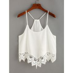 Lace Trimmed Racerback Chiffon Cami Top (150 MXN) ❤ liked on Polyvore featuring tops, crop top, shirts, tanks, white, white racerback tank top, white chiffon tank, white crop tank, white shirts and white racerback tank