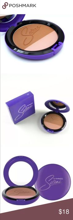 MAC M.A.C Selena Powder Blush Techno Cumbia NEW in Box Full Size 10 g / 0.35 Two shades in one compact. Designed by and for professionals to provide fantastic color with ease and consistency. Applies evenly, adheres lightly to skin for a natural-looking application of color that stays put all day. Specially packaged in purple featuring Selena's signature in lavender. MAC Cosmetics Makeup Blush