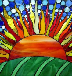 Sunrise Over Farmland Mosaic Stained Glass by StayCsStainedGlass, $150.00