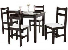 Ideal para Sala ou Cozinha Compacta: Conjunto de Mesa com 4 Cadeiras Modelo Milão da Fritz Móveis é uma ótima opção porque...