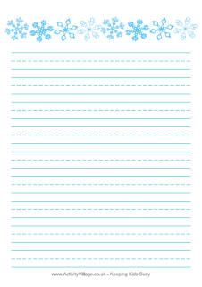 Printable Lines Paper Winter Themed Writing Paper  Writing Paper Winter And Activities