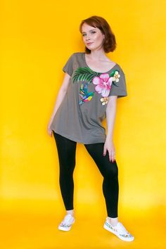 Hand painted Marsh Floral T-shirt with humming bird: Tropical Summer. Textiles, One Piece, Acrylic Colors, Fabric Painting, Custom Paint, Are You The One, Floral, Hand Painted, Indian Designers