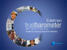 """2013 Edelman Trust Barometer: Global Financial Services Industry / Five years since the start of the global economic meltdown, financial services remains the least trusted sector worldwide, with just 46 percent of respondents identified as a """"truster."""" Although trust in the financial services industry has climbed back to pre-crisis levels, there is still a long path ahead."""