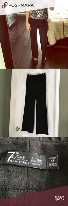 "Stretchy black dress pants Pull on stretchy black dress pants. No closure devices, just pull on and go. As these are stretchy, they're super comfortable. Minor pilling throughout. 31"" inseam. Fits like a 0/2. New York & Company Pants Trousers"
