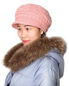 Kaisifei Women Winter Warm Knit Hat Ski Caps with Visor Christmas Lingerie, Classy Men, Rabbit Fur, Caps Hats, Fashion Brands, Knitted Hats, Winter Hats, Topshop, Warm