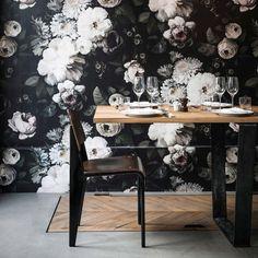 Dark Floral Wallpaper - by Ellie Cashman Design. Photographed for ELLE France at Restaurant Le Mordant.