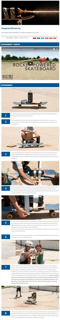 Use a Mentos and Diet Coke Geyser to transform a skateboard into a rocket