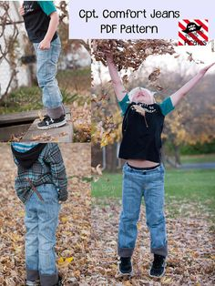 Cpt. Comfort Jeans Pants Sewing PDF Pattern Sizes 3mths-14 For