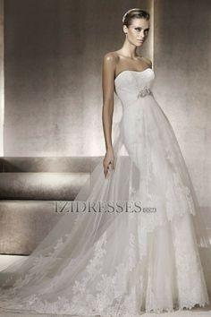 Sheath/Column Strapless Sweetheart Organza Wedding Dress