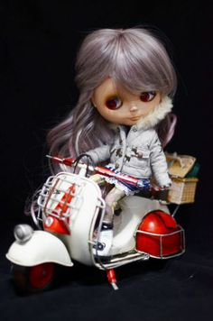 "Scooter Vespa 1 6 Motorcyle Red White Vintage for 12"" Blythe Pullip Doll 