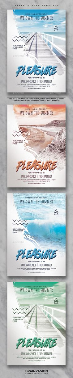 #Summer #Flyer/Poster Template Vol.03 - Holidays #Events Download here: https://graphicriver.net/item/summer-flyerposter-template-vol03/19612665?ref=alena994