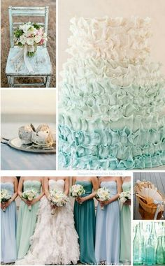 Classy wedding blues and soft pastel turquoise hues