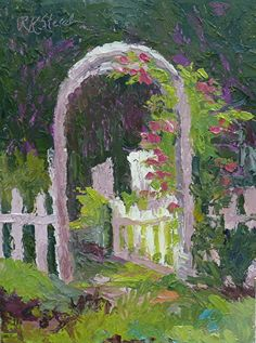 """Morning Sun on the Rose Arbor by Roxanne Steed Oil ~ 8"""" x 6"""""""