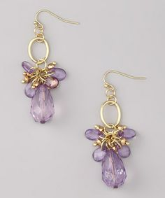 Take a look at this Amethyst & Gold Keely Earrings by Uptown Girls on #zulily today! $9 !!