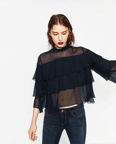 フリル付き七分袖ブラウス-すべてを見る-シャツ ブラウス-レディ-ス | ZARA 日本