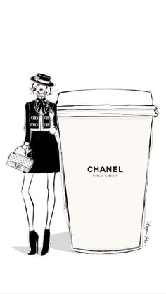 """Megan Hess illustration: """"On some Monday's, only a CHANEL will do. Coco Chino anyone? Illustration Megan Hess, Illustration Mode, Coffee Illustration, Art Chanel, Coco Chanel, Chanel Style, Poster Café, Posters, Trendy Fashion"""