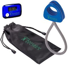 This Stride Pedometer & Stretch Band in a Pouch is a great promotional product to give out at health and wellness events. The band is thermoplastic rubber with ABS plastic handles that lock together for easy storage in purse or gym bag. Pedometer counts the steps taken during your workout, or a day's normal activity and resets to zero with the push of a button. Includes belt clip. Available in Blue and White. #promotional #products