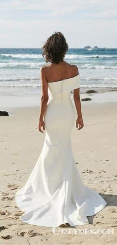 Off The Shoulder Elegant Long Mermaid Beach Bridal Gowns Wedding Dresses, Wedding Dresses Perth, Bridal Dresses, Wedding Gowns, One Day Bridal, Spring Dresses, Simple Dresses, Wedding Bride, Boho Wedding, Crystal Wedding