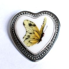 Broken China Jewelry Yellow Butterfly Sterling Pin $128