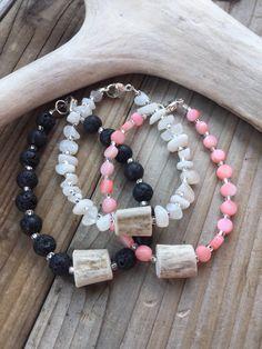 Deer Antler Bracelets. Three Piece Bracelet Set. Stackable Bracelets. Coral Bracelet. Moonstone Bracelet. Coral Bracelet.