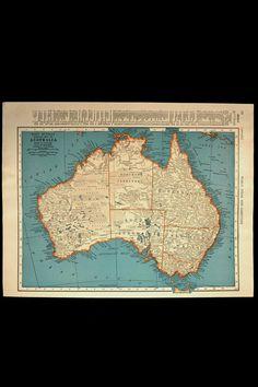Vintage Map Australia 1940s Original 1945 Wall Decor