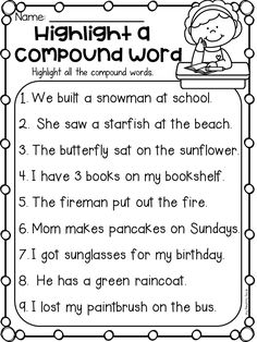 Finding compound words worksheet for first grade and second grade. Students read the sentences and highlight all the compound words. This worksheet can show me as an assessment, if the students can identify compound words. Grammar Activities, First Grade Activities, Teaching Grammar, Student Teaching, Teaching Time, Compound Word Activities, Compound Words Worksheet, Math Games, Games Fo