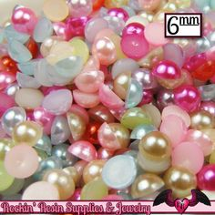 200 pc 6mm Bright PASTEL Mix HaLF PEARLS Flatback Decoden Cabochons