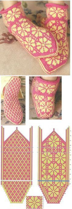 Knitting Patterns Slippers These are taken from a copyrighted book called Knitting Scandinavian Slippers and Socks by Laura Far… Love Knitting, Norwegian Knitting, Fair Isle Knitting, Knitting Charts, Knitting Patterns Free, Baby Knitting, Knitted Slippers, Knit Mittens, Knitting Socks