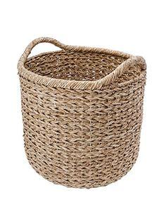 Wicker Baskets With Handles, Rattan Basket, Large Baskets, Fabric Storage Bins, Fabric Bins, Storage Baskets, Storage Ideas, Smart Storage, Basket Weaving