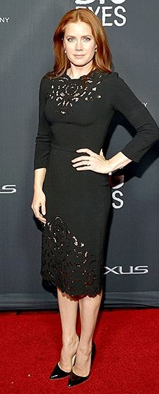 Amy Adams attended her film's intimate screening in a Dolce & Gabbana LBD with lace details and pointed-toe pumps.