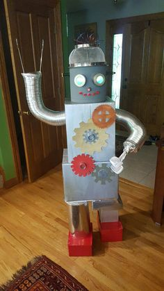 Gadgets and Gizmos, Orange VBS, Robot, DIY,  boxes, gears, led eyes.