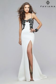 f283e6a079 Neoprene sweetheart with lace applique  Faviana Style 7724 Neoprene Gown