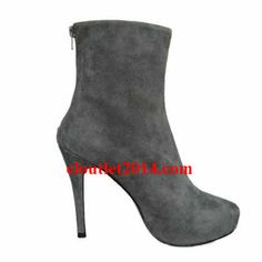 Discount Christian Louboutin Booties Paris 100mm Suede Gray