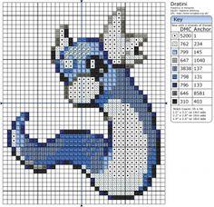 Pix For > Dratini Pixel Art Template | Pixel art ...