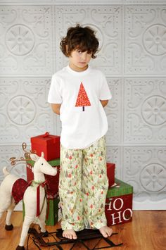 Boys Christmas Pajamas  COTTON or FLANNEL Lounge by StitchToStitch, $36.00+